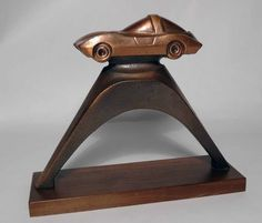 Vintage Revell slot car racing event trophy from the 1960's.