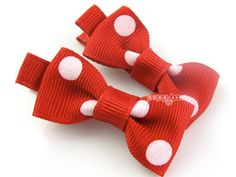Baby Hair Clips - Red and White Polka Dots Little Bow Clips - Matching Pair Hair Barrettes for Babies Toddlers No Slip Alligator Clips on Etsy, $4.99 AUD