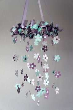 Plum Aqua Flower Nursery Mobile - Baby Girl Nursery Decor, Baby Shower Gift