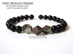 $28.  Take 10% off your purchase with coupon code PIN10.  This gorgeous Pyrite and Black Obsidian Gemstone Bracelet can help to attract abundance, protect from negative energy and to give self-confidence.  All gemstone bracelets are infused with healing Reiki and Kuanyin energies and smudged before shipping out.  From HealingGardenShop.etsy.com