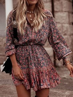 Bohemian Style Floral Printed Midi Dresses - Casual Dresses - Ideas of Casual Dr. - Bohemian Style Floral Printed Midi Dresses – Casual Dresses – Ideas of Casual Dresses – Bohemian Style Floral Printed Midi Dresses Source by - Boho Outfits, Bohemian Style Dresses, Boho Dress, Dress Red, Bohemian Clothing, Bohemian Fashion Styles, Hipster Outfits, Hippie Dresses, Floral Clothing