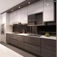 Contemporary Kitchen, Kitchen Cabinets Decor, Modern Kitchen Cabinet Design, Kitchen Layout, Modern Kitchen Design, Modern Kitchen Remodel, Kitchen Style, New Kitchen Cabinets, Kitchen Renovation