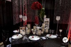 Black and Red  wedding decor with glitz. Suncoast Hotel & Casino dazzles at the Las Vegas Bridal Spectacular.www.bridalspectacular.com