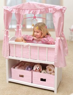 AllDollFurniture.com - Pink Gingham Wooden Doll Crib with Canopy , $74.99 (http://alldollfurniture.com/products/pink-gingham-wooden-doll-crib-with-canopy.html)