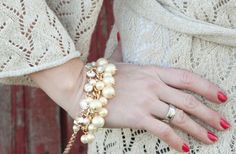 Beautiful Rhinestone and Faux Pearl Bracelet 58% off at Groopdealz