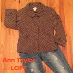 """NWOT  LOFT BEAUTIFUL JACKET How cute is this !?!?!  Colors are a brown background with a gold like Daisy floral print. Button closure /covered buttons. Peter Pan collar. Accent belt on front with buttons also same accents on the 3/4"""" sleeves. Gathers in back as shown in pic, fully lined. A Classy jacket that can be dressed up or down. Measures 21"""" from shoulder to hem. Medium weigh. 57% Wool, 43% Rayon. Priced to sell!!! LOFT Jackets & Coats"""