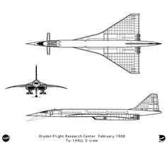 A NASA schematic of the Tupolev supersonic transport Tupolev Tu 144, Orthographic Projection, Museum Of Curiosity, Space Race, Technical Drawing, Military Aircraft, Nasa, First World, Aviation