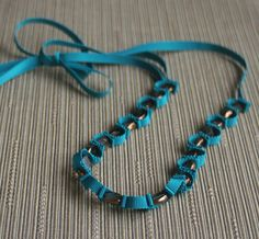 Grosgrain necklace in teal with metallic edged by CarolynWawerujewellery, $30  #teal #ribbonnecklace #jewellery