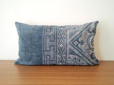 "14""x 24"" Vintage Chinese Indigo Batik Pillow Cover, HMONG Batik Indigo Pillow Case, Boho Throw Pillow, Ethnic Costume Textile Cushion Cover"