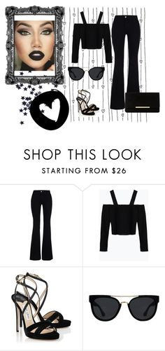 """""""Retro All-black Outfit"""" by fashionistaserena ❤ liked on Polyvore featuring STELLA McCARTNEY, Zara, Jimmy Choo, Quay and Dune"""