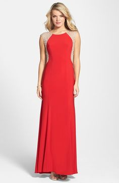 18cbc71952f2 Xscape Crystal Back Jersey Gown available at  Nordstrom Wedding Attire