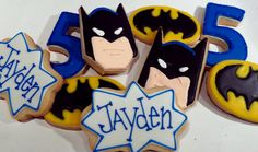 I WANT THESE FOR MY BIRTHDAY. Lego Batman Party, Batman Birthday, Superhero Birthday Party, 6th Birthday Parties, Birthday Celebration, Iced Cookies, Sugar Cookies, Frosted Cookies, Decorated Cookies