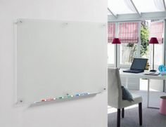 Frosted Glass Dry-Erase Board with Aluminum Marker Tray