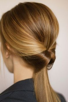 Big impact for small effort. All you do is tie your hair into a high/low/side ponytail and make a hole above the hairtye and loop hair all the way through and their you go, an easy yet fashionable hairstyle, and it takes not even a 1min. or 2. Try it out, I definately did.