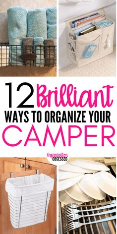 12 ways to organize your camper or RV. These camper organizing hacks will make it super easy to go camping and have an amazing trip! 12 Brilliant Ways To Organize Your Camper or RV - Organization Obsessed Camping Hacks, Travel Trailer Camping, Camping Essentials, Tent Camping, Camping Ideas, Family Camping, Glamping, Travel Trailers, Camping Supplies