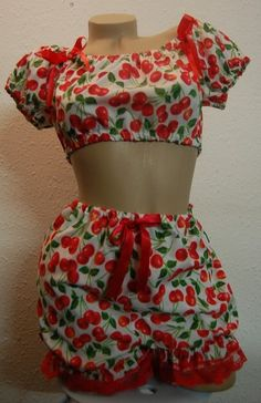 CHERRY POP – Playsuit, Two Piece, Bloomers, 1950's, Vintage Style, Bettie Page, Pin Up, Burlesque