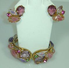 Unsigned Juliana Pink Multistone Bangle and Earring Set