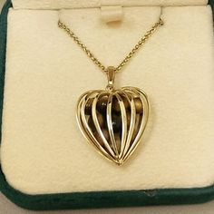 14K Caged Heart Pendant Tigers Eye Gold Enhancer Slide Charm 5.5 Grams Italy Italian Vintage Tiger's Stone Jewelry 4 Necklace OOAK Gift Mod on Etsy, $150.00