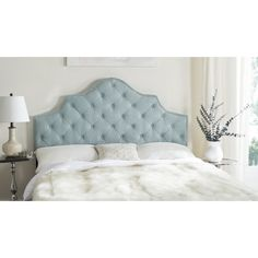 Safavieh Furniture Arebelle Sky Blue Tufted Headboard   Lavish Upholstery  And Expert Tailoring Create The Aura Of Old World Elegance In The Sky Blue  ...