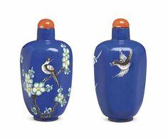 LA Rare Enameled Blue-Ground Snuff Bottle, Yixing, 1800-1870