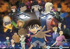 The film of Detective Conan (Case Closed) anime franchise revealed its main visual in this year's eight issue of Shogakukan's Weekly Shonen Sunday magazine on Wednesday. Conan Movie, Detektif Conan, Sherlock Holmes, Detective Conan Black Organization, Nightmare Movie, Film 2016, Detective Conan Gin, Heiji Hattori, Movie 20
