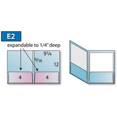 "Class: Pocket Folder <br>Style: Expandable Pocket - E2 <br>Size:9-1/4"" x 12"" <br>Feature:Wide Spine <br>Sku:E2"
