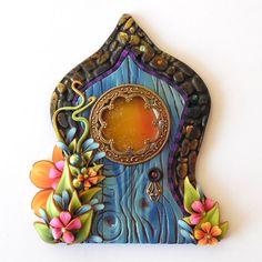Boho Fairy Door Pixie Portal Blue Miniature Door by Claybykim >> adorable fairy door!