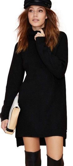 Hodoyi Women Fashion New Autumn High Collar Slim Casual Loose Long Sleeve Sweater  Dress Solid Black Straight Pullover Sweater - CEOsShop 45cd24a99