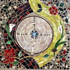 Chartres Labyrinth Mosaic Stepping Stone by Dar Mace