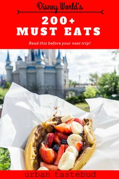 Here's everything that you absolutely must eat and drink at Disney World. From all 4 parks, all the way to the amazing resorts and Disney Springs, there are so many delicious foods that'll guarantee to satisfy your tastebuds! Disney World Vacation Planning, Walt Disney World Vacations, Disney Planning, Vacation Places, Disneyland Vacation, Disney Travel, Best Disney World Food, Disney Food, Disney Disney