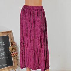 Crushed velvet maxi skirt sze 5 / 7 maroon by EleanorFayesFashion