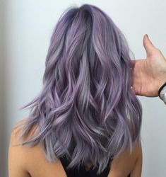 Silver and violet balayage.