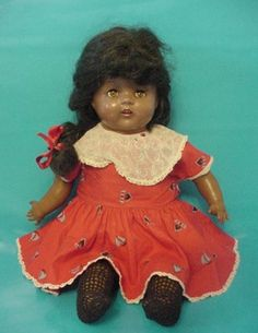 """22"""" old vintage composition vinyl Black Americana character baby doll w crier   $ 19.50"""