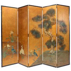 Hand-Painted Oriental Screen