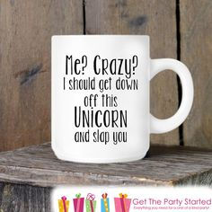 Funny Coffee Mug Crazy Unicorn Novelty Ceramic Mug Humorous Quote Mug... ($13) ❤ liked on Polyvore featuring home, kitchen & dining, drinkware, drink & barware, home & living, mugs and silver