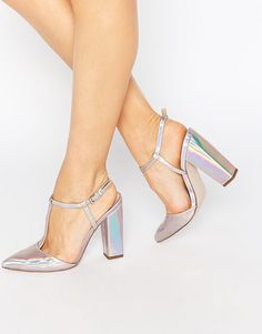 Image 1 of Little Mistress Mollie T-Bar Pointed Heeled Shoes