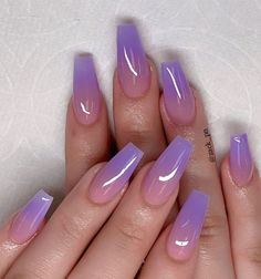 These fabulous nail art designs are super unique and glamorous, these will give you the trendy looks and give your nails a whole new edge to them. These designs below and next page include different shades like glitter pink, clear nails with etc. Cute Acrylic Nail Designs, Best Acrylic Nails, Purple Acrylic Nails, Purple Nail Designs, Acrylic Nails For Summer Coffin, Coffin Ombre Nails, Gel Ombre Nails, Coffin Acrylics, Colorful Nail Designs
