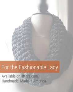 Charcoal cowl neck scarf. Chunky scarf. Handknit infinity scarf. Dark Grey scarf. Gift for her. Winter scarf. Handmade and made in America. $24.00. http://aftcra.com/HaleyEaglestar/listing/6592/chunky-cowl