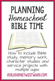 Planning Homeschool Bible Time Bible is an important subject! Planning homeschool Bible time will ensure your children get in the Word, build Christian character and serve others. Bible Study For Kids, Kids Bible, Children's Bible Study, Bible Character Study, Toddler Bible, Preschool Bible, Preschool Lessons, Bible Activities, Church Activities