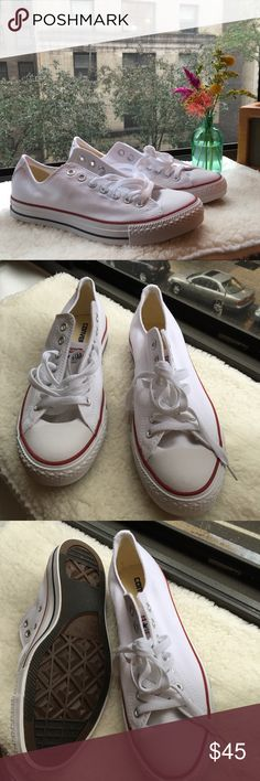 NWT Converse All Star shoes NWT! Unfortunately they run a little big on me :( Size Unisex: UK: 9 EUR: 42.5 27.5 cm Size mens: 9 Size Womens: 11 Optical white. Converse Shoes Sneakers