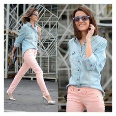 Pastel jeans denim shirt ❤ liked on Polyvore
