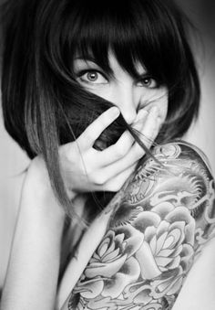 Portrait - Tattoos - Ink - Photography - Black and White - Coquette - Pose Idea / Inspiration