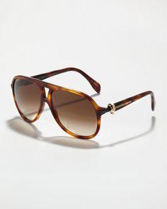 3074be3589 Alexander McQueen Skull-Temple Aviator Sunglasses