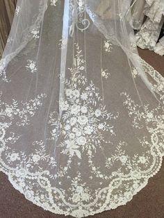 Exquisite Antique Lace Wedding Veil  by AntiqueLaceHeirlooms