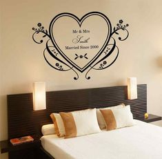 Master Bedroom Wall Decals Modern Home Decor Inspiration Also Easy Impressive Design Furniture Decorating With Custom Wall Decals, Wall Decals For Bedroom, Wall Decor Stickers, Rustic Romantic Bedroom, Wallpaper Design For Bedroom, Primitive Home Decorating, Bedroom Decor Pictures, Couple Bedroom, Home Decor Inspiration