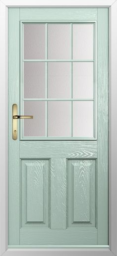 Composite door, example of 2 panel 1 grill in Chartwell green. High quality, secure and in your choice of colours, including almost any from the RAL color range! Check out our new extended range and design your new composite door today with Just Value Doors.