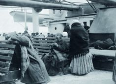 Steerage passengers settling on the deck of the Titanic. 1912. Photo taken by Father Browne, SJ who disembarked in Ireland.: