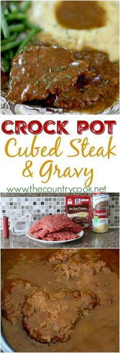 Crock-Pot Cubed Steak – easy to make dinner right in your slow cooker. Crock-Pot Cubed Steak – easy to make dinner right in your slow cooker. Crock Pot Food, Crockpot Dishes, Crock Pot Slow Cooker, Slow Cooker Recipes, Crock Pot Cube Steak, Cube Steak Recipe Crockpot, Crock Pot Dinners, Crockpot Lunch, Slow Cooker Steak