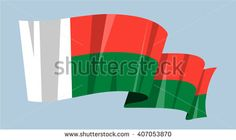 National waving flag vector editable banner ribbon country world Madagascar island Africa - stock vector