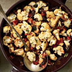 The late Armenian cookbook author Arto der Haroutunian, who taught Paula Wolfert this dish, caramelized cauliflower on the stove before baking it with eastern Mediterranean flavorings: chopped tomatoes, plumped raisins, and Marash red pepper flakes. Recipe: Pan-Roasted Cauliflower with Pine Nuts and Raisins